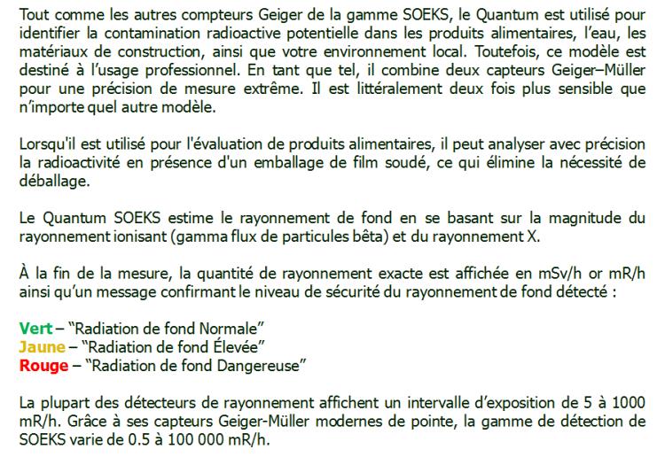 Produit B SOEKS Quantum professionnel dosimètres Compteur Geiger Radioactivité